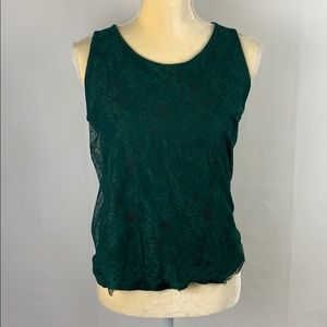 Loft Emerald Green Lace Sleeveless Tank Top